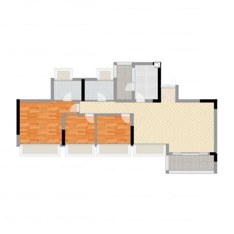 花海湾3室1厅2卫1厨105.00㎡户型图