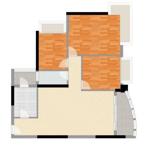 愉景南苑3室2厅1卫1厨102.00㎡户型图