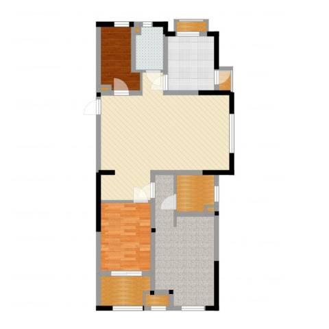 常发香堤半岛2室2厅1卫1厨100.00㎡户型图