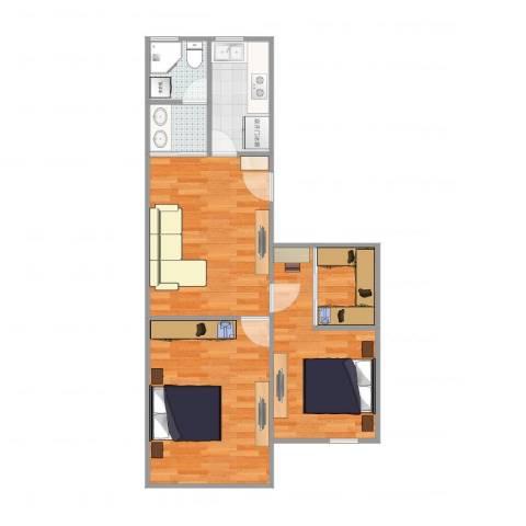 共和八村2室1厅2卫1厨65.00㎡户型图