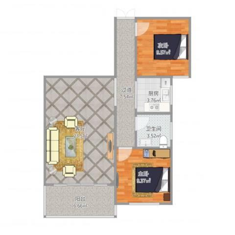 侨建花园2室1厅1卫1厨87.00㎡户型图