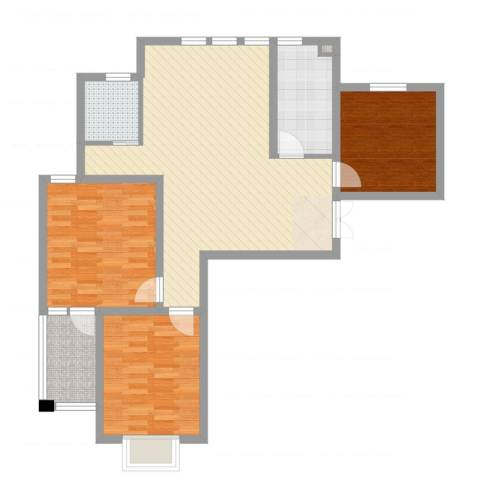 阳光花苑3室2厅1卫1厨99.00㎡户型图