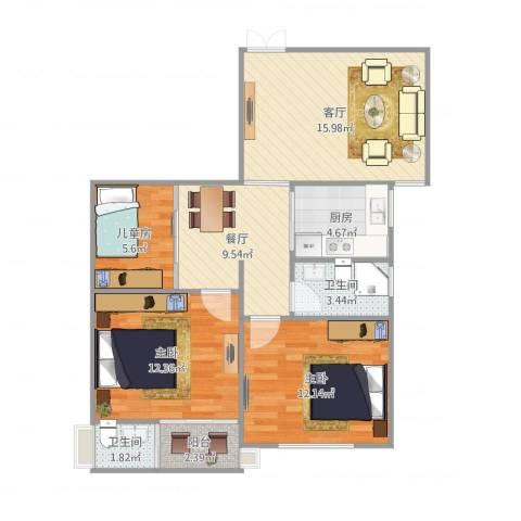 侨建花园3室2厅2卫1厨91.00㎡户型图