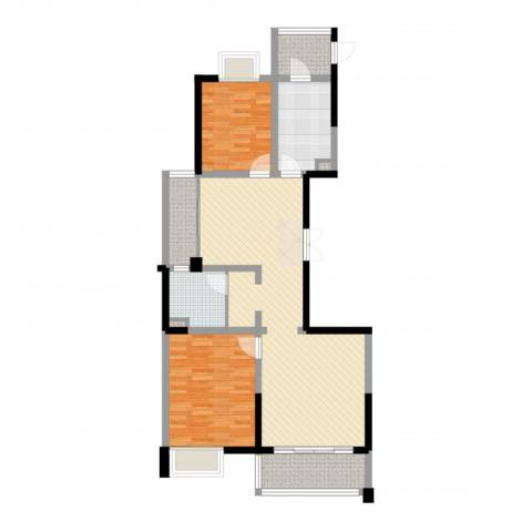 新时代广场2室2厅1卫1厨100.00㎡户型图
