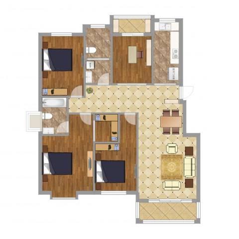 盛世新都4室4厅2卫1厨138.00㎡户型图