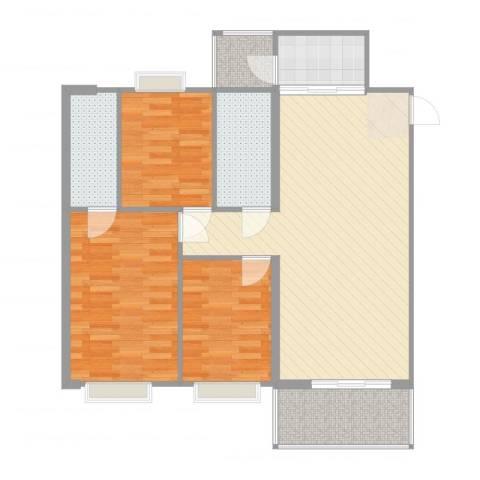 盈彩美居菁品园3室2厅2卫1厨97.00㎡户型图