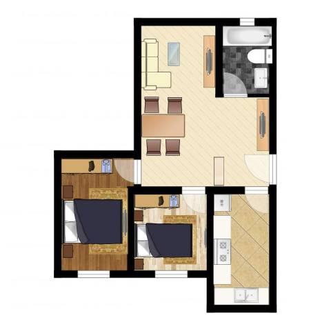 海特花园2室1厅1卫1厨55.00㎡户型图