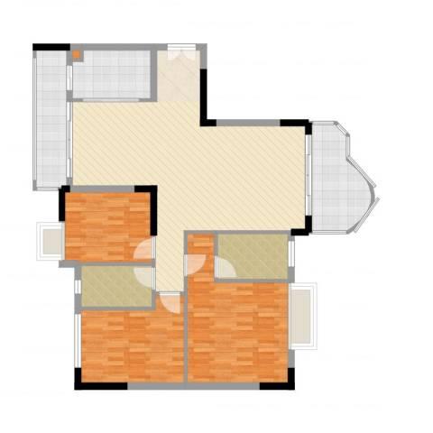 云山熹景3室2厅3卫1厨130.00㎡户型图