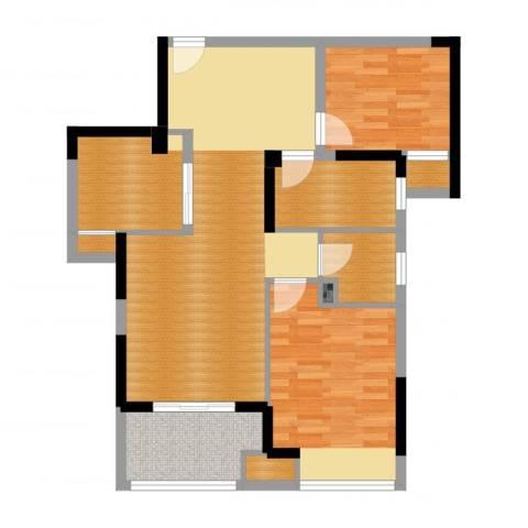 荣鼎幸福城2室2厅1卫1厨69.95㎡户型图