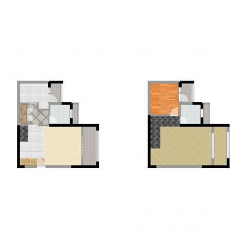 融创伊顿濠庭1室2厅2卫1厨108.00㎡户型图