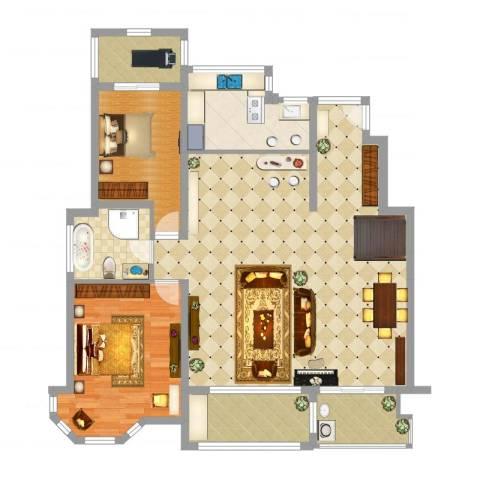 万悦城2室1厅1卫1厨137.00㎡户型图