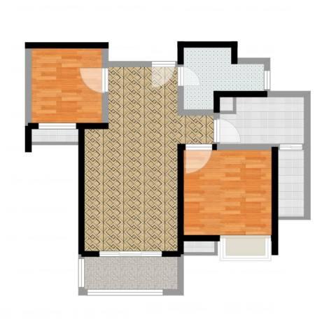 绿地波士顿公馆2室2厅3卫2厨90.00㎡户型图