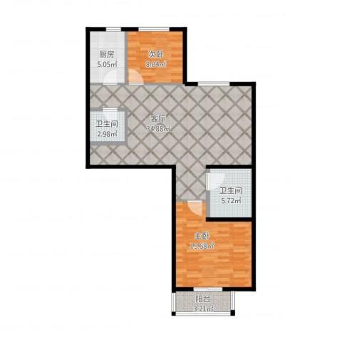 世贸天街2室1厅2卫1厨106.00㎡户型图