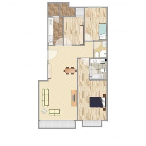 朱雀门3室1厅2卫1厨123.00㎡户型图