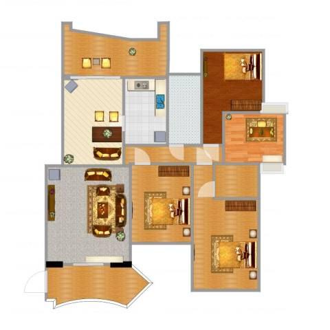 天湖御林湾2室1厅1卫1厨136.00㎡户型图