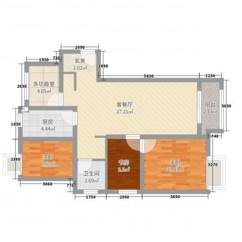 万科VC小镇3室2厅1卫1厨96.00㎡户型图