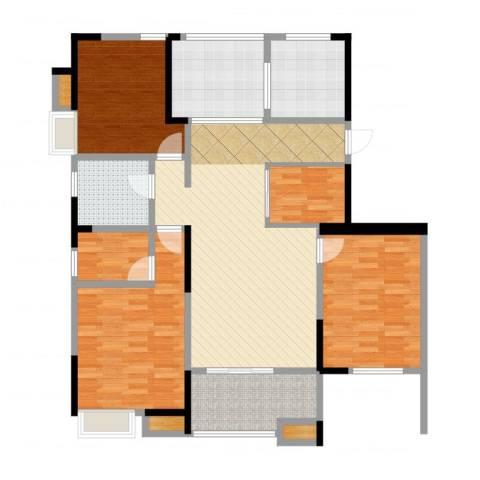 恒大晶筑城3室2厅1卫1厨123.00㎡户型图