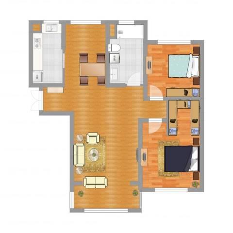 银洲皇家花园2室2厅3卫1厨101.00㎡户型图
