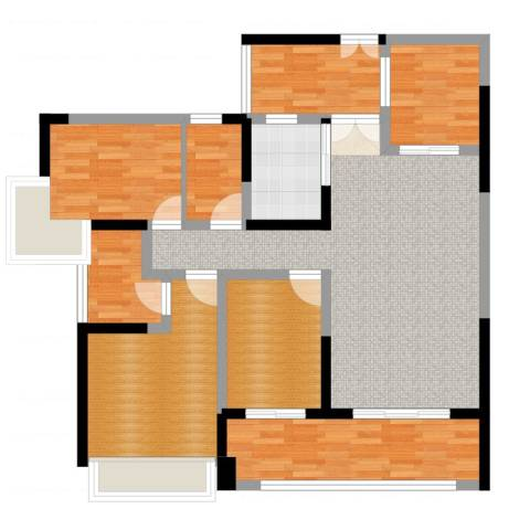 正德天水湖1室2厅1卫1厨108.00㎡户型图