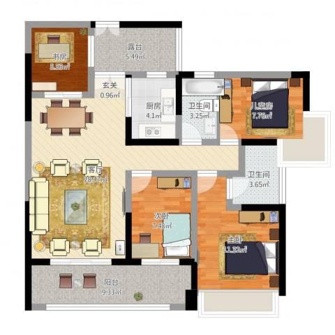 正德天水湖4室1厅2卫1厨128.00㎡户型图