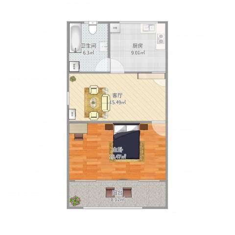 南新三村1室1厅1卫1厨77.00㎡户型图