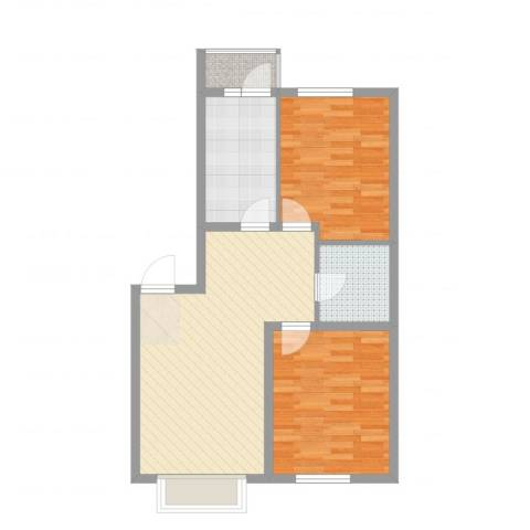 金色河畔2室2厅1卫1厨76.00㎡户型图
