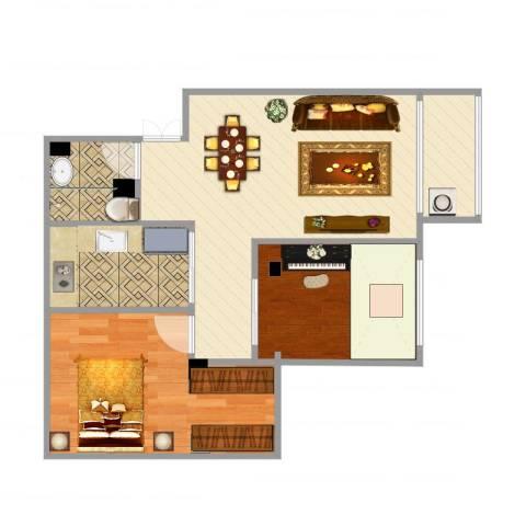 紫荆苑2室1厅1卫1厨62.00㎡户型图