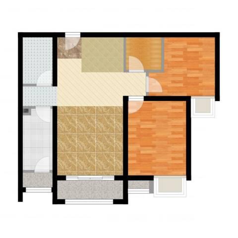 珠光御景2室2厅1卫1厨80.00㎡户型图