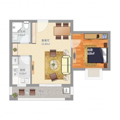丽园馨都1室2厅1卫1厨64.00㎡户型图