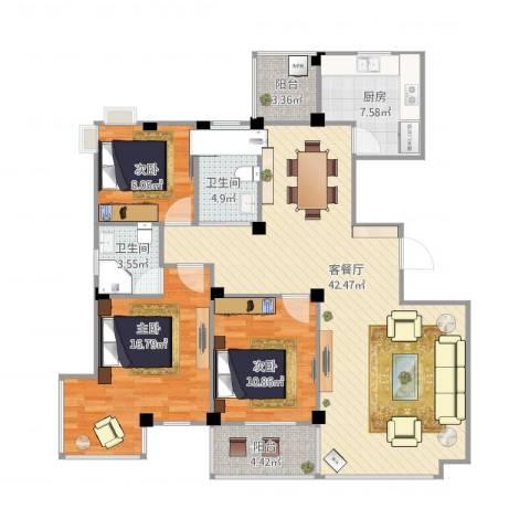 丽园馨都3室2厅2卫1厨139.00㎡户型图