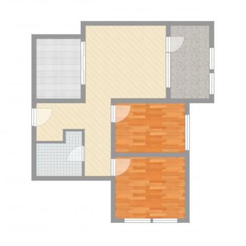 远乡维也纳2室2厅1卫1厨76.00㎡户型图
