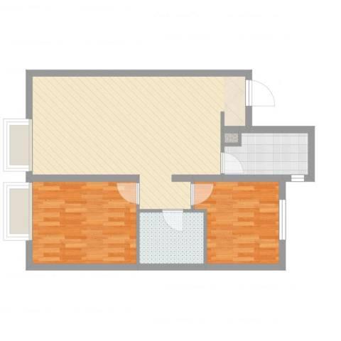 万科城・明2室2厅1卫1厨75.00㎡户型图