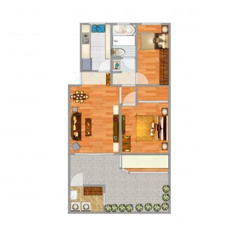 联城花苑2室3厅1卫1厨91.00㎡户型图