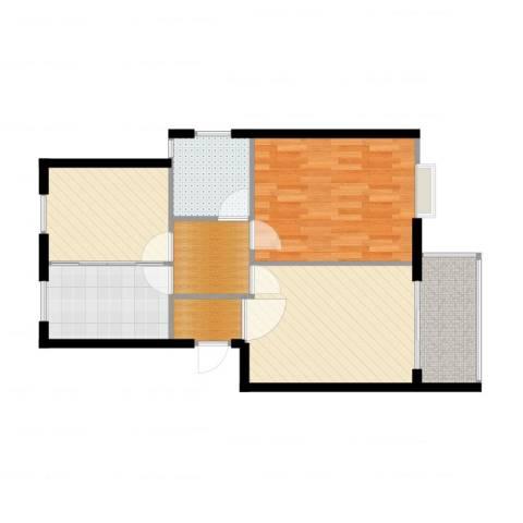 江南景苑1室2厅1卫1厨74.00㎡户型图