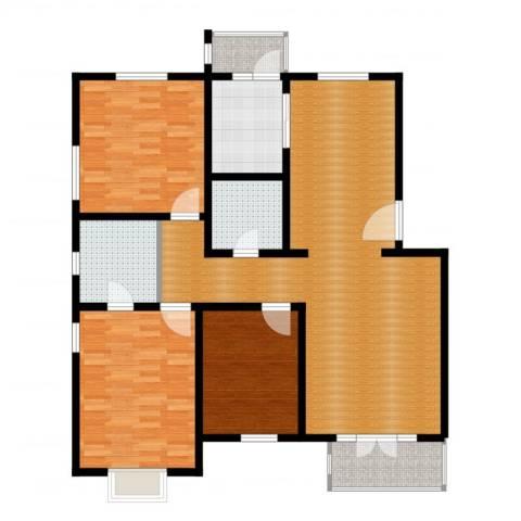 天一海馨园3室2厅2卫1厨124.00㎡户型图
