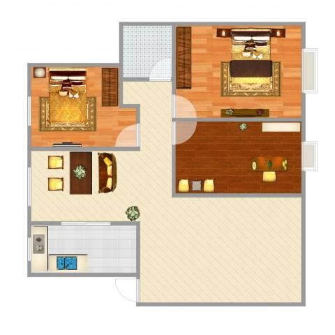 新城明珠3室2厅1卫1厨94.00㎡户型图