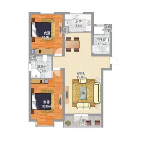 联丰北区2室2厅2卫1厨116.00㎡户型图