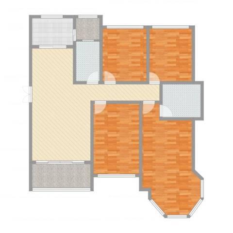 中南锦城4室1厅2卫1厨142.00㎡户型图
