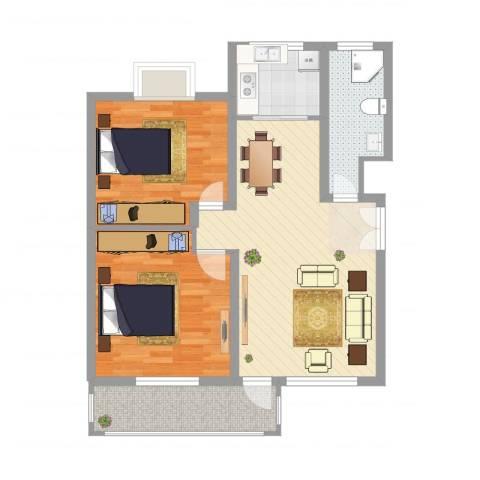 齐云雅苑2室2厅1卫1厨83.00㎡户型图
