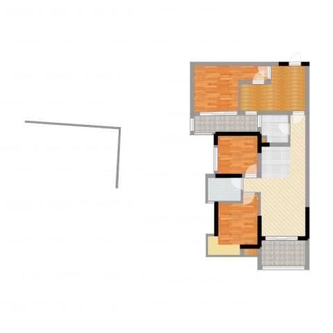 万江住宅3室2厅1卫1厨72.21㎡户型图