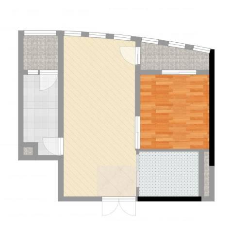 星汇云锦1室2厅1卫1厨73.00㎡户型图