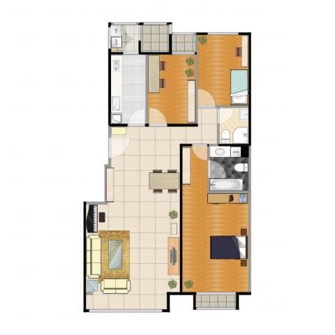 朱雀门2室1厅1卫1厨131.00㎡户型图