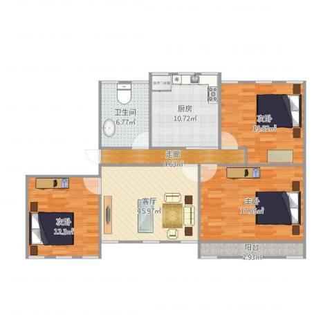 绿园小区75平3室1廊3室1厅1卫1厨114.00㎡户型图