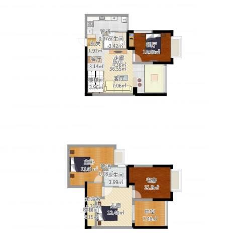 东海滨江城2室1厅2卫1厨131.00㎡户型图