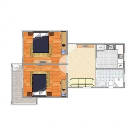 祁南二村2室1厅1卫1厨62.00㎡户型图