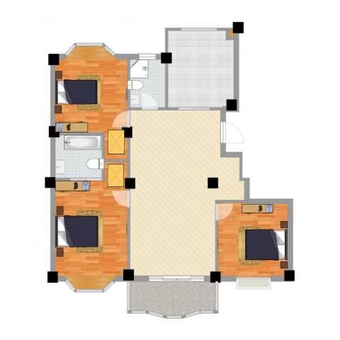 小城春秋3室1厅2卫1厨126.00㎡户型图