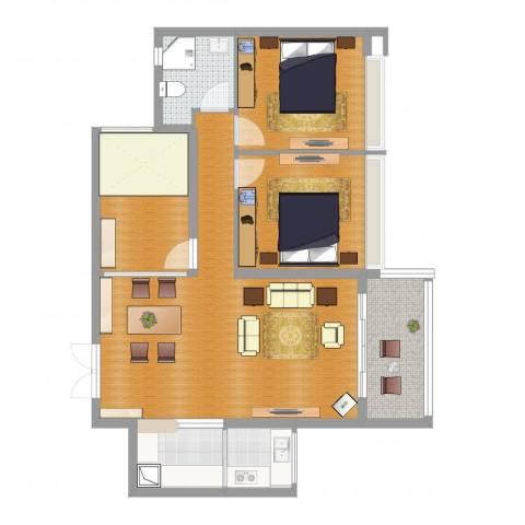 太东棕榈岛2室2厅1卫2厨95.00㎡户型图