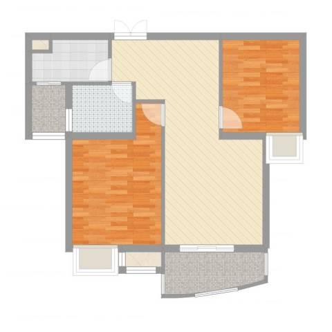 天赐良园2室2厅1卫1厨77.00㎡户型图
