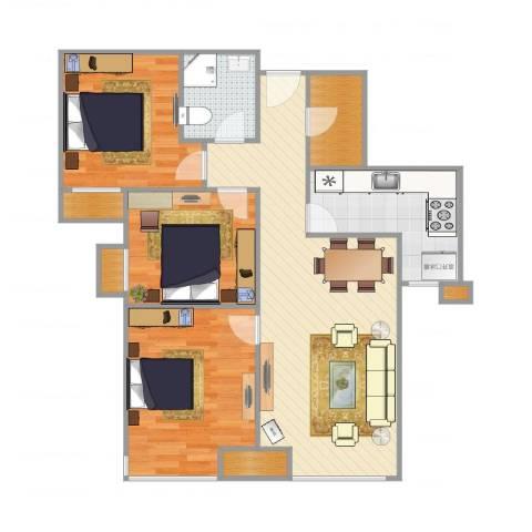富力新城3室1厅1卫1厨107.00㎡户型图