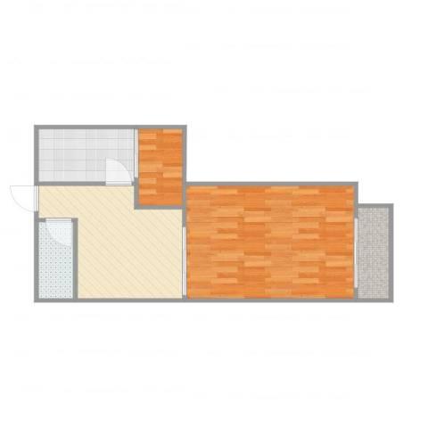 联发君悦湖2室1厅1卫1厨52.00㎡户型图